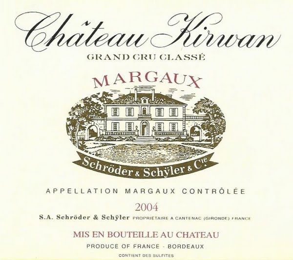 Wine label from a bottle of Chateau Kirwan, Cantenac-Margaux, 3rd Growth.
